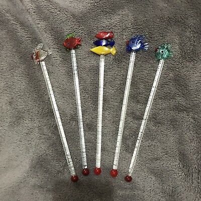 Glass fish drink stirrers swizzle sticks x 5 cocktail drinks party bar #38
