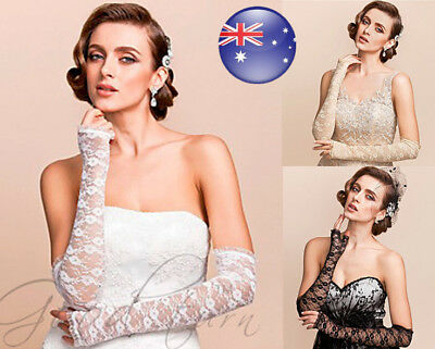 AU Fashion Ladies Stretchy Floral Lace Fingerless Long Gloves Bridal Punk Party