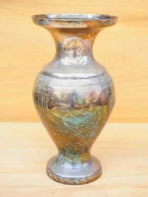 Vintage Old Large Size Brass Flower Vase, (H748)
