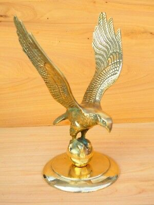 Vintage Old Large Size Brass Eagle On Stand, Eagle (H623)