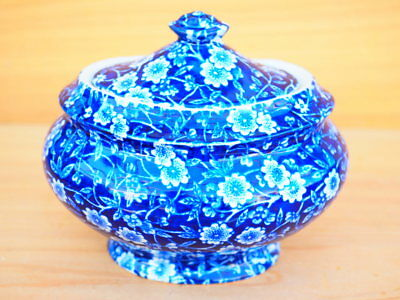 Old Large Size Blue & White Calico Burleigh Sugar Bowl, (H662)