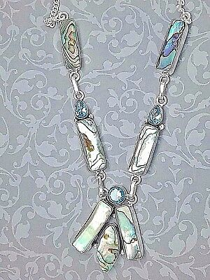 Stunning Silver Blue Topaz & Abalone Shell Necklace
