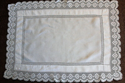 Vintage white linen cloth with crochet edge and drawn thread table topper/cloth.
