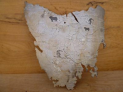 Vintage Old Large Size Australian Map, Old Island Cut Out Map (D569)