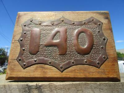 1930's Circa Embossed Brass House Number 140 Hand Beaten Plaque Sign on Timber.