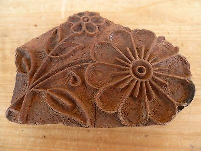 Old Early Flower Pattern Printing Block, Old Timber Block, (D854)