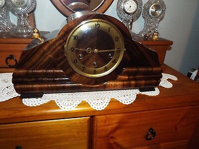 Professionally Restored French Odo Mantle Clock Four Quarter Westminster Chiming