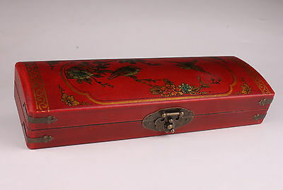 Large Red Leather Jewelry Box Flower Adorn Gift Collectable