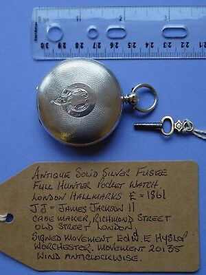 Antique Solid Silver Fusee Full Hunter Pocket Watch London 1861 Working