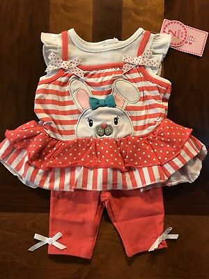 Nannette Girls Easter Bunny Outfit/ Size 6/9M NWT