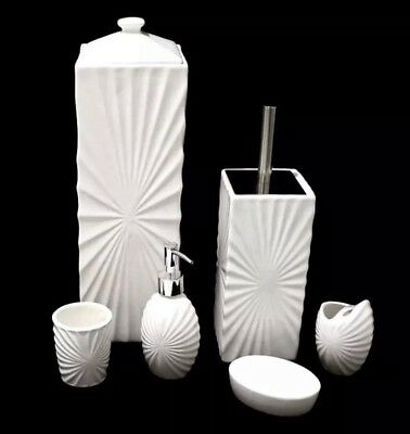6 Pcs Ceramic Bathroom Set Accessory Toilet Brush Toilet Paper Roll Holder