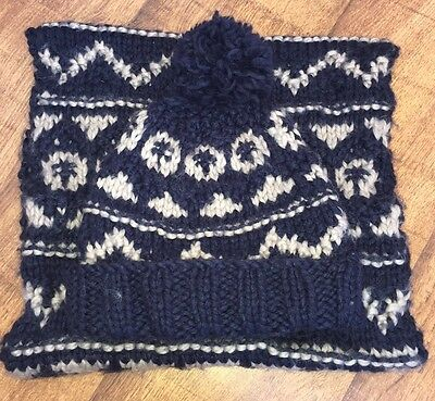Snood And Hat Set Navy With White<NH2985