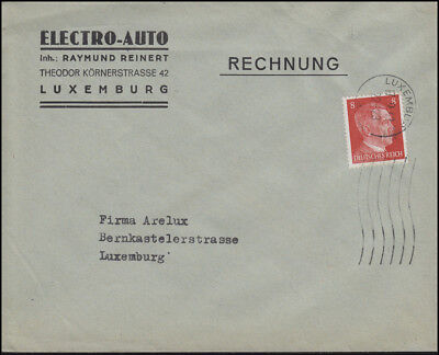 Luxemburg Hitler-EF 8 Pf. Orts-Brief Electro-Auto LUXEMBURG 17.9.42