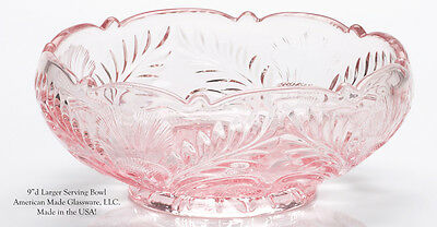 Pink Glass Inverted Thistle Pattern Bowl - Mosser USA