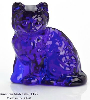 Cobalt Blue Solid Glass Fluffy Kitten Cat Figurine - Mosser USA