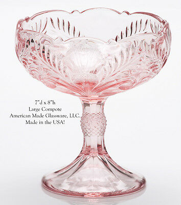 Pink Glass Inverted Thistle Pattern Large Compote - Mosser Glass USA