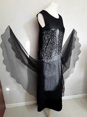 vintage 1920s dress flapper tabbard original art deco black antique