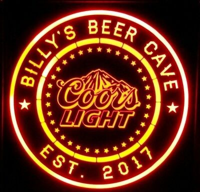 Custom Personalized Coors Light 12 x 12 Multi color LED Sign box with remote