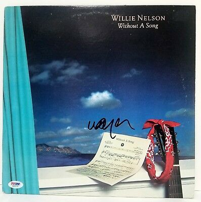 """WILLIE NELSON Signed Vinyl """"WITHOUT A SONG"""" Album LP PSA #AA25779"""
