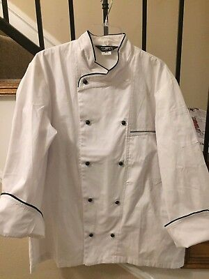 Unisex 1st Quality White Chef Coats w/ Black Trim Sizes: 34-56 Price 14.00
