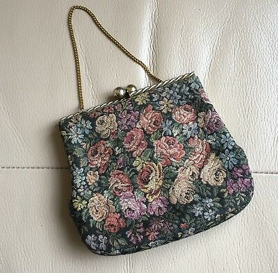 Vintage Retro Mid Century Bagcraft British Tapestry Evening Bag Handbag Purse