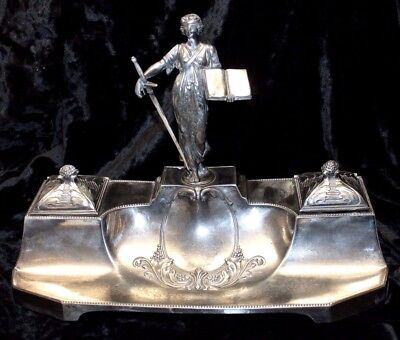 WMF, Art Nouveau silver plated rare inkwell, model 288, antique