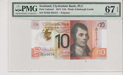 Scotland 2017 10 Pounds WHS first issue PMG 67EPQ nice!