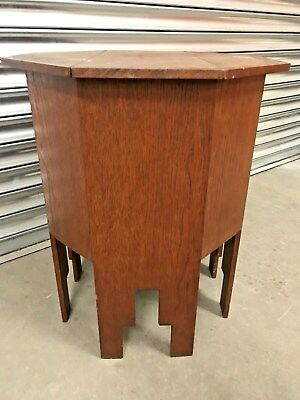 Old Antique Vintage Solid Oak Octagonal Sewing Box Table With Lift Up Lid / Top