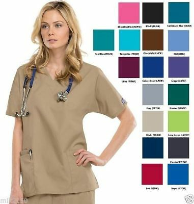 Cherokee Workwear Scrubs Women's V-Neck 3Pkt Top 4700 | NWT | 10 Colors; 5 Sizes