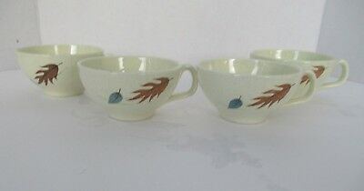 Set of 4 Vtg Franciscan Autumn Leaves Coffee Cups Mid-Cetury Earthenware USA