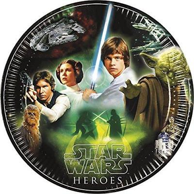 Star Wars Heroes Pack Of 8 Party Plates 23cm Diameter Yoda Luke Skywalker Jedi