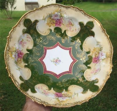 """GERMAN UNMARKED CHINA DECORATIVE  """"FLORAL""""  BOWL w/GILT STAIN"""