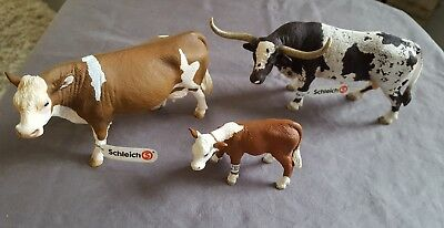 Set of 3 Schleich Texas Longhorn Bull, Simmental Cow, and Hereford Calf D-73508