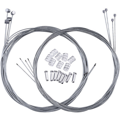 2 Set Mountain Bike Brake Cable Gear Cable Wire and Cable End Crimps Kit