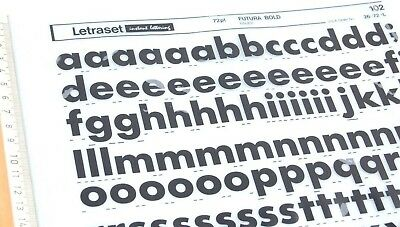 LETRASET RUB ON Letter Transfers 72pt FUTURA BOLD (#102) 19 5mm Complete