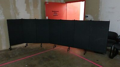 "SCREENFLEX Partition - Black, 4' h x 16'6""w, pins at one end for wall mounting."