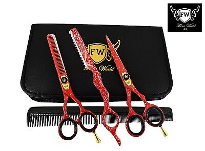 """Professional Red Hairdressing Trimmer Cutting Thinning Barber Scissors Set 5.5 """""""