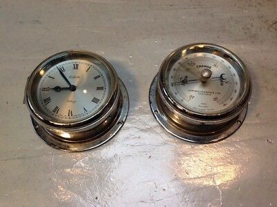 Lovely Vintage Celeste 8 Day Clock & Matching Simpson Lawrence Barometer Chrome