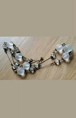 Stunning Vintage Art Deco Czech Frosted Clear Round Bead Glass Wire Necklace.