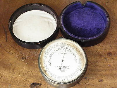 Antique Victorian Vintage JH Steward London Leather Cased Pocket Barometer C1890
