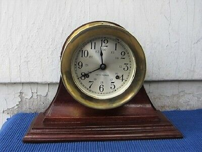 "HAND-MADE SOLID WALNUT STAND for 4 1/2"" SHIP'S CLOCK or BAROMETER"