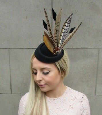 Black Brown Pheasant Feather Pillbox Hat Fascinator Races Hair Clip Ascot 5289