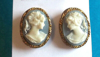 Goldtone White on Blue Young Lady Cameo Post Earrings