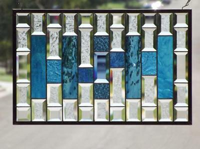 "Lineup •Beveled Stained Glass Window Panel • 22 ¾"" x 14 ¾"" (58x38 cm)"