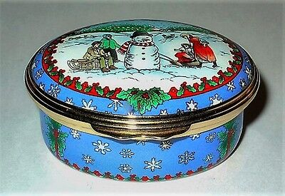 Halcyon Days Enamel Box- Christmas Scene - Snowman & Children & Snowflakes - Mib