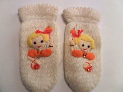Vintage Cute Child's Mittens little girl size 4 japan