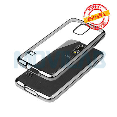 Funda gel / TPU Samsung G900 Galaxy S5 transparente borde metalizado negro