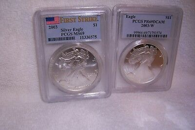 2003 Pcgs Ms69 First Strike Silver Eagle And 2003-W Pr69Dcam