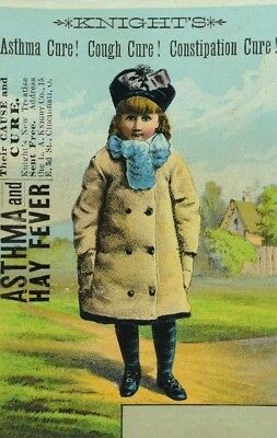 1880's Knight's Cure-All Quack Medicine Adorable Girl In Coat Country Scene P84