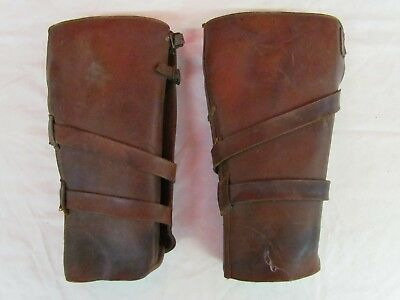 Military WW 1 WW I CANADIAN OFFICERS LEATHER GATORS PUTTEES LEGGINGS